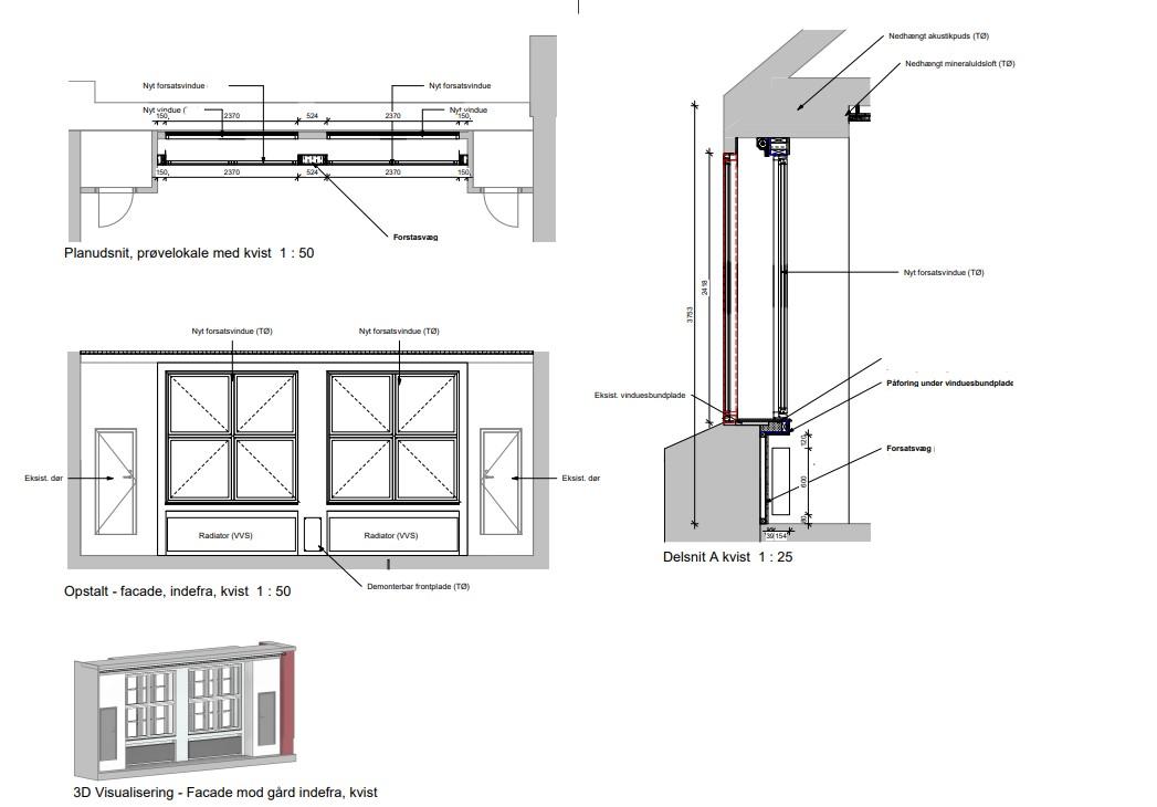 Solafskærmning: Visualisering af facade indefra samt skitseringer af kvisten med det nye forsatsvindue. Tegninger af Arkitekter Johansen og Rasmussen