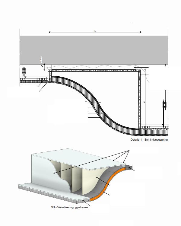 Videreudvikling af den originale stil: Ventilationen bliver gemt bag en gipskasse, der fører den eksisterende arkitektur videre.  Tegninger af Arkitekter Johansen og Rasmussen