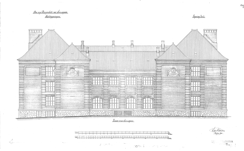 De oprindelige tegninger af Samsøgade Skole, tegnet af arkitekt Ludvig Adolph Petersen. Skolen blev indviet i 1914. Aarhus Kommune.